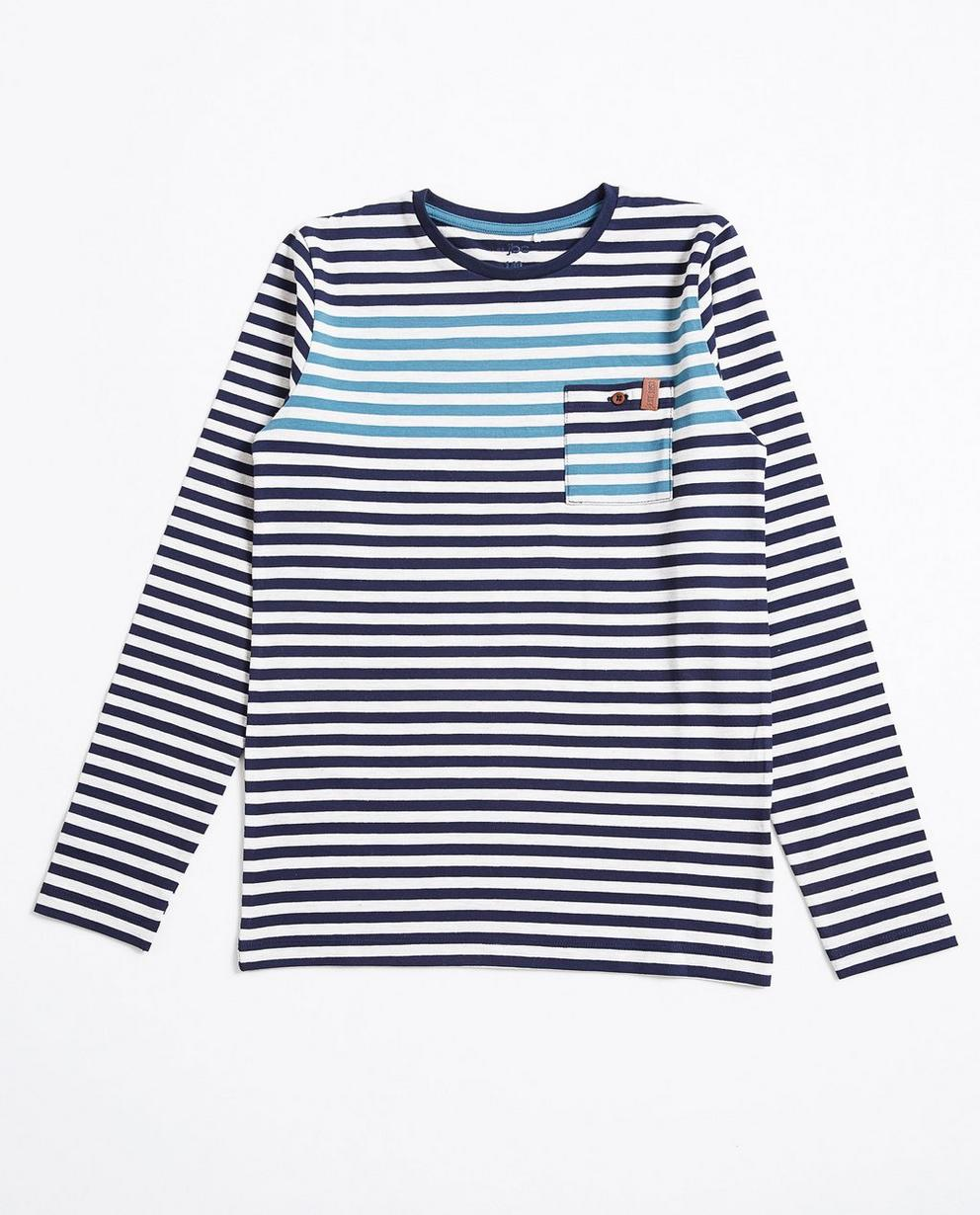 T-shirt à manches longues - rayé, gris et bleu foncé - JBC